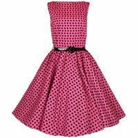 Fifties Style Pink Dress with black polka dots